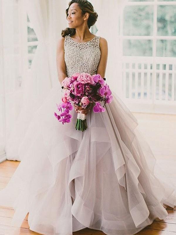 Ball Gown Sleeveless Scoop Beading Sweep/Brush Train Organza Wedding ...