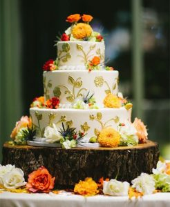 Trend for 2016 fall wedding cakes ideas official hebeos blog these fall wedding cakes both bright oranges and burnt or darker oranges are great colors to match the season white and gold are beautiful colors that junglespirit Choice Image
