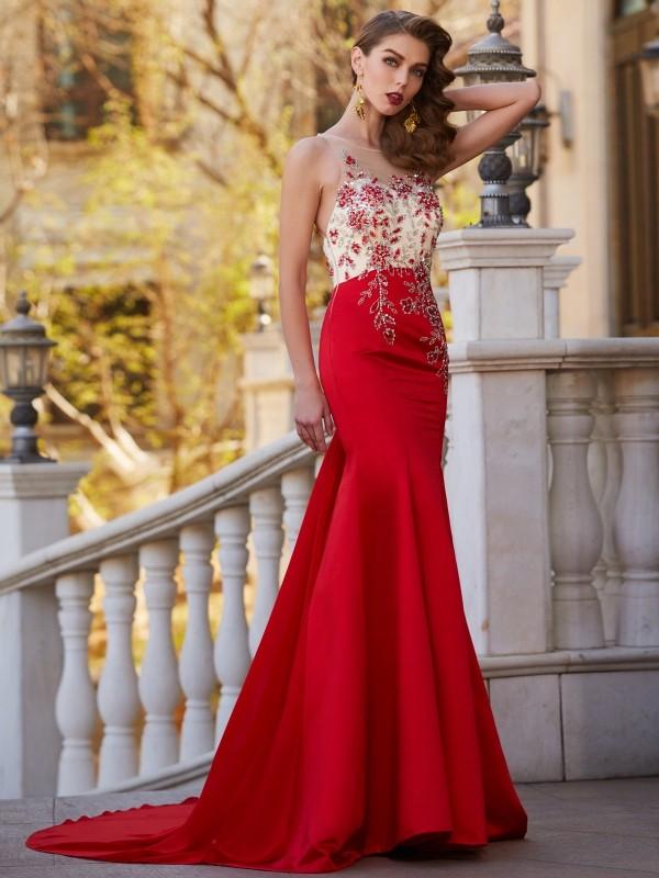 2f172302761 Trumpet Mermaid Sheer Neck Sleeveless Court Train Applique Stain Dresses