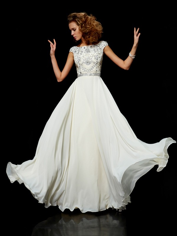 b88ba4ff Ball Gown High Neck Short Sleeves Beading Long Chiffon Dresses - Hebeos