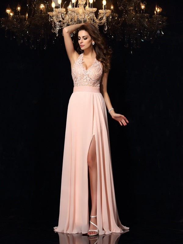 55dce79b92e A-Line/Princess Halter Lace Sleeveless Long Chiffon Dresses - Hebeos