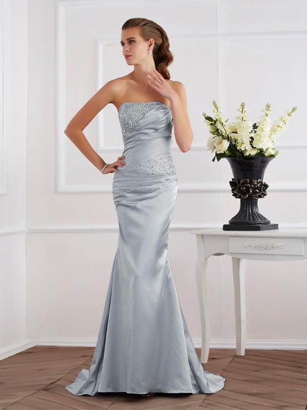 Trumpet/Mermaid Strapless Beading Long Elastic Woven Satin Dresses