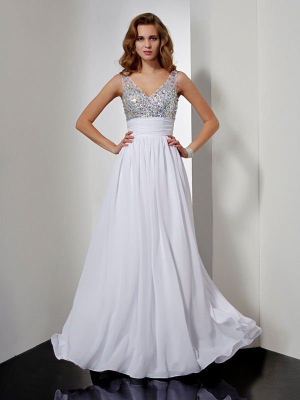 A-Line/Princess V-neck Rhinestone Sleeveless Long Chiffon Dresses