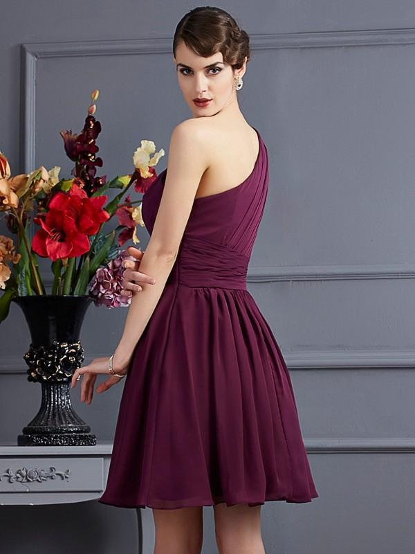 A-Line/Princess One-Shoulder Sleeveless Pleats Short Chiffon Bridesmaid Dresses