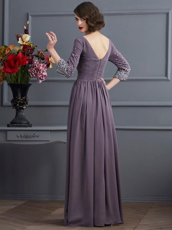 Sheath/Column V-neck 3/4 Sleeves Beading Long Chiffon Mother of the Bride Dresses