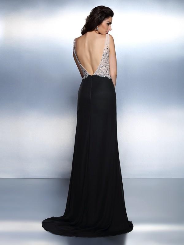 Trumpet/Mermaid V-neck Beading Sleeveless Long Chiffon Dresses