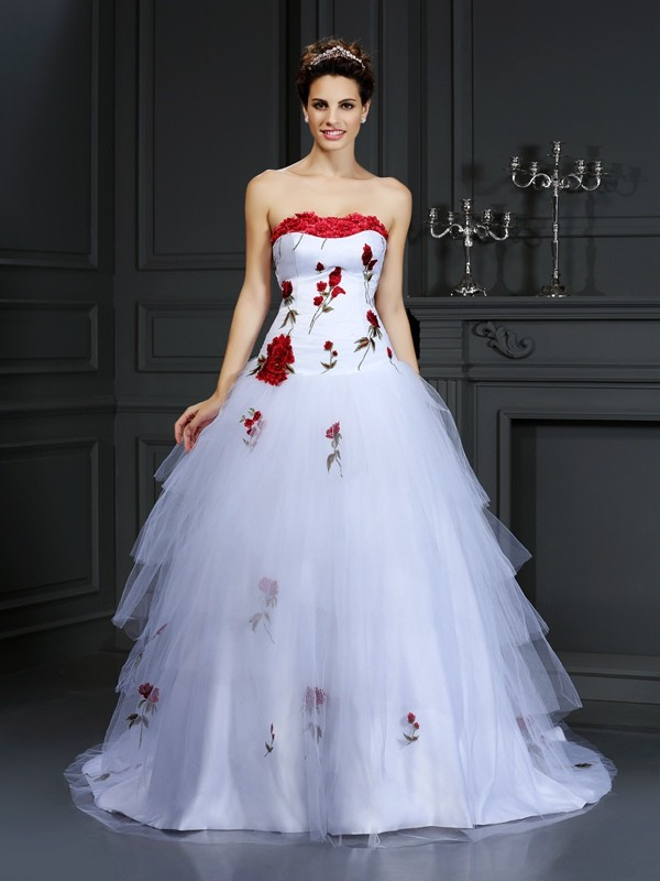 Ball Gown Strapless Hand-Made Flower Sleeveless Long Satin Wedding Dresses