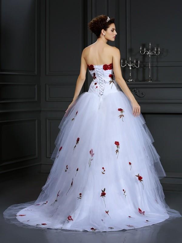 Ball Gown Strapless Hand-Made Flower Sleeveless Long Satin Wedding Dresses
