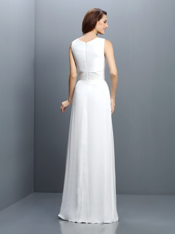 Sheath/Column V-neck Sleeveless Long Chiffon Bridesmaid Dresses