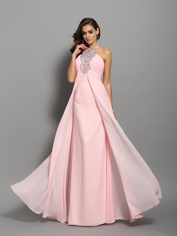 Sheath Floor-Length High Neck Sleeveless Chiffon Beading Pleats Dress