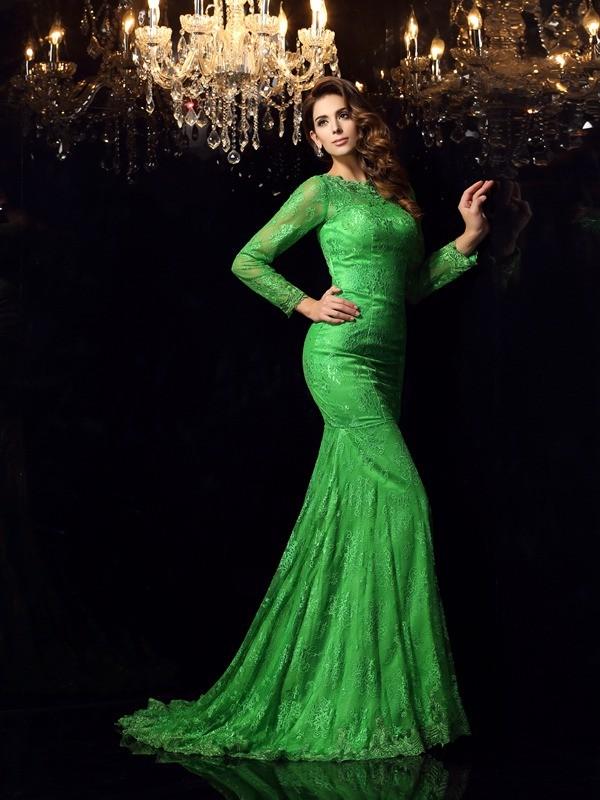 Trumpet/Mermaid High Neck Applique Sleeveless Long Elastic Woven Satin Dresses