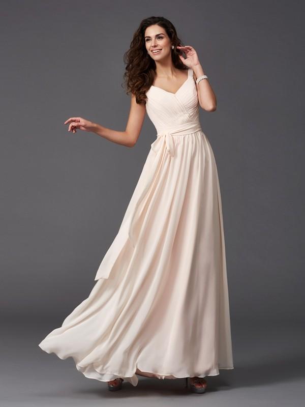 A-Line/Princess Straps Sash/Ribbon/Belt Sleeveless Long Chiffon Bridesmaid Dresses
