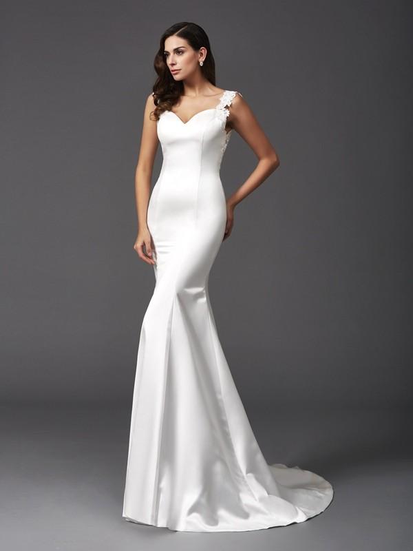 Trumpet mermaid straps beading sleeveless long satin for Cheap wedding dresses canada