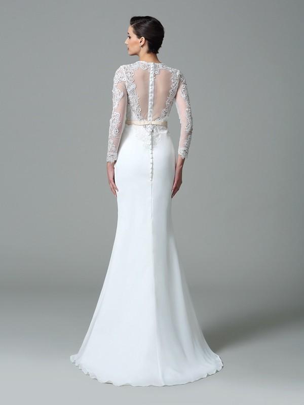 Trumpet/Mermaid Jewel Lace Long Sleeves Long Satin Wedding Dresses ...