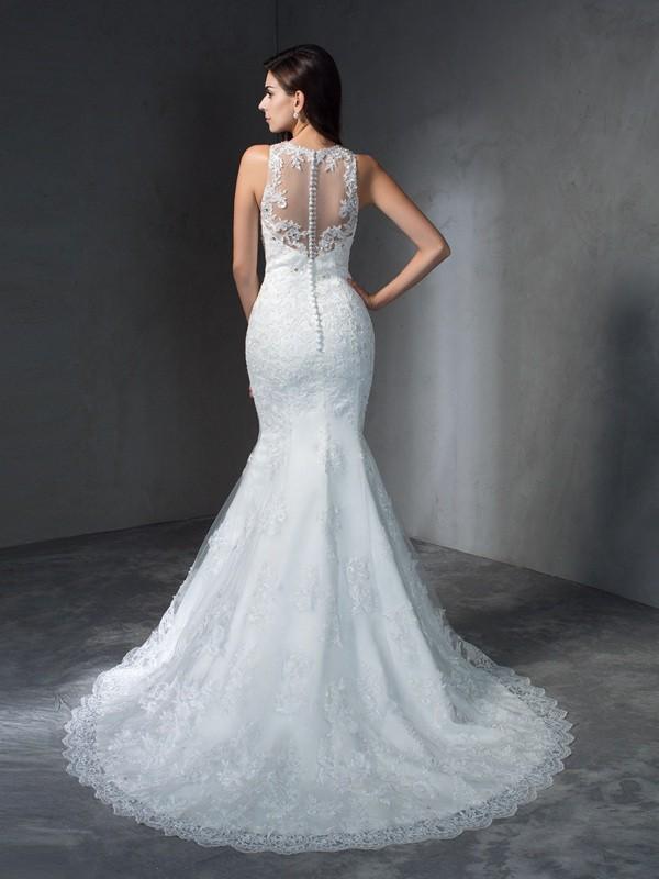 Trumpet/Mermaid Scoop Applique Sleeveless Long Lace Wedding Dresses