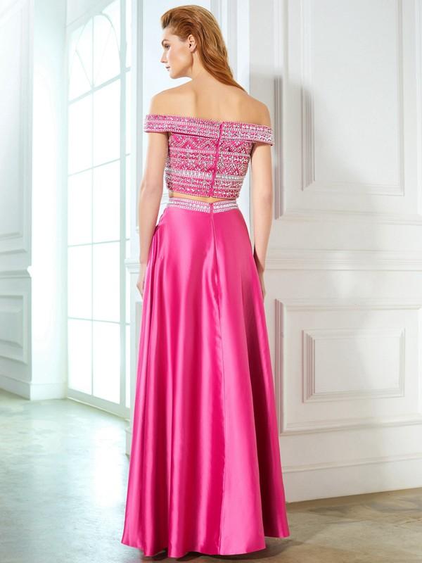 A-Line/Princess Off-the-Shoulder Beading Sleeveless Satin Floor-Length Two Piece Dresses