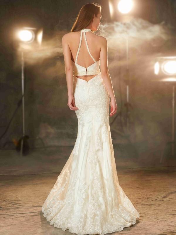 Sheath/Column Jewel Sleeveless Floor-Length Applique Elastic Woven Satin Dresses
