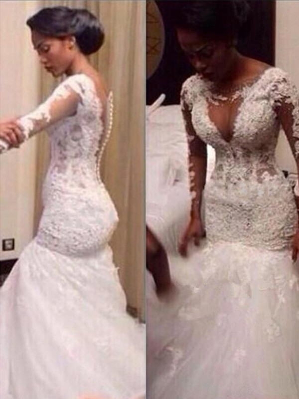 Trumpet/Mermaid V-neck Long Sleeves Lace Floor-Length Tulle Wedding Dresses