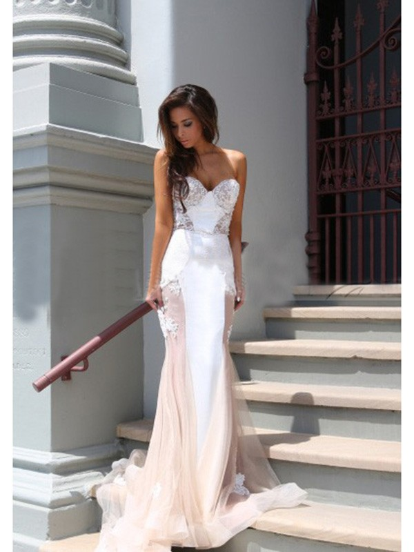 Trumpet/Mermaid Sweetheart Sleeveless Tulle Chapel Train Dresses