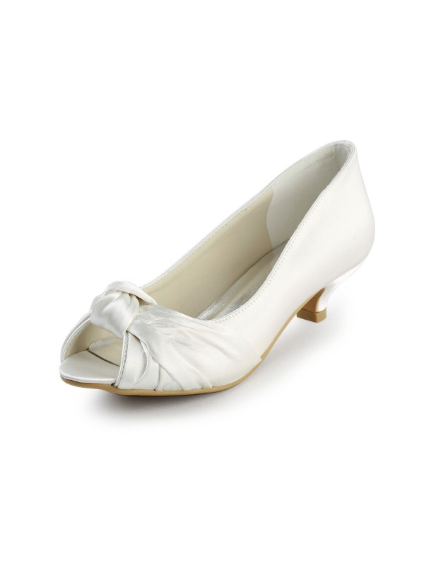 Womens Satin Kitten Heel Peep Toe Sandals White Wedding Shoes With Bowknot