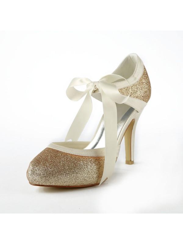 women s satin stiletto heel pumps with sparkling glitter white