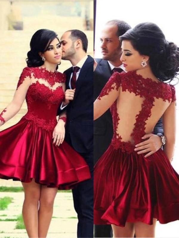 A-Line/Princess High Neck Long Sleeves Elastic Woven Satin Short/Mini Dresses