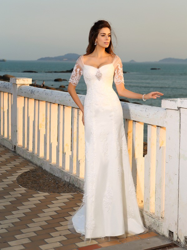 Sheath Column Sweetheart Applique Short Sleeves Long Satin Beach Wedding Dresses