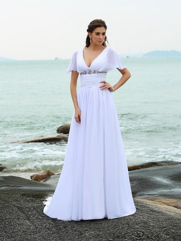 A Line Princess V Neck Ruffles Short Sleeves Long Chiffon Beach Wedding Dresses