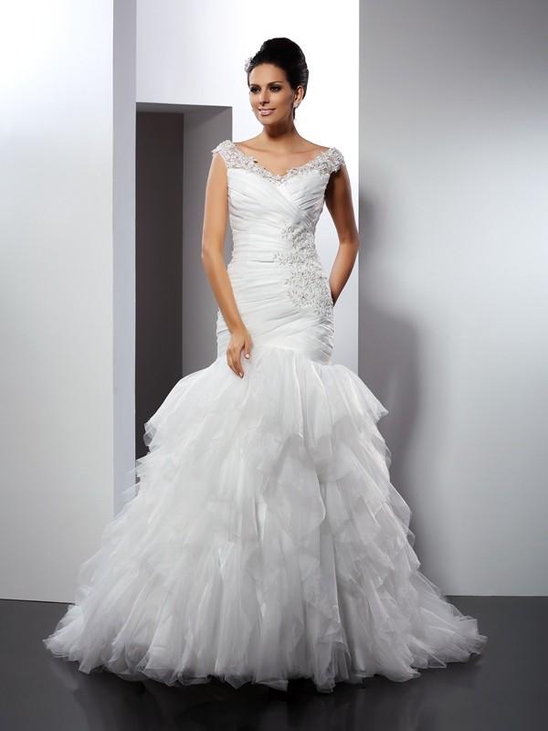 Trumpet mermaid v neck applique sleeveless long tulle for Free wedding dress catalog