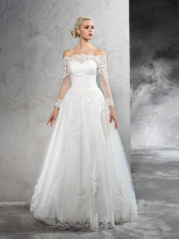 Ball Gown Off The Shoulder Lace Long Sleeves Net Wedding Dresses