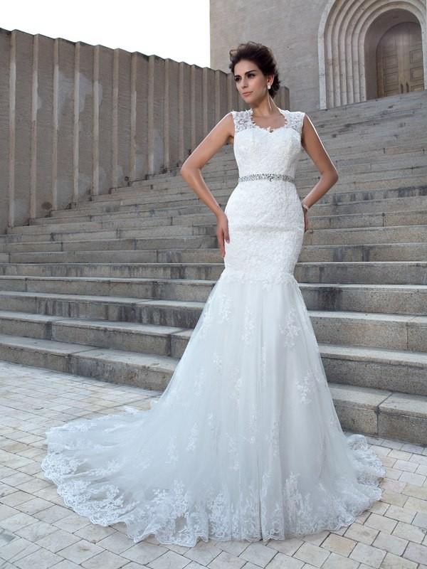 Trumpet Mermaid V Neck Applique Sleeveless Long Lace Wedding Dresses
