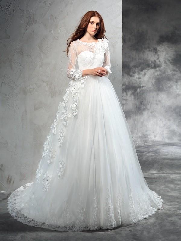 Ball Gown Sheer Neck Hand Made Flower Long Sleeves Net Wedding Dresses