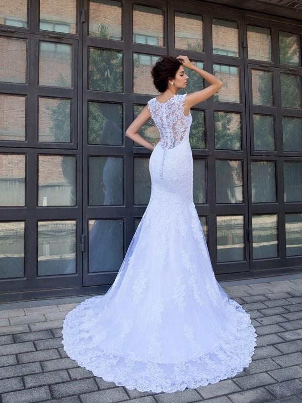 Trumpet Mermaid V Neck Applique Sleeveless Long Satin Wedding Dresses