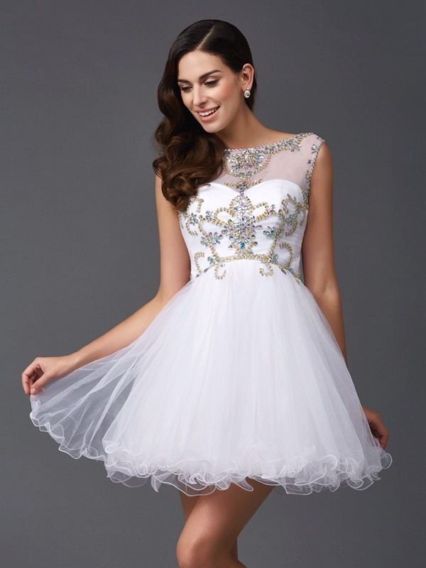 A Line Princess Scoop Beading Sleeveless Short Net Dresses