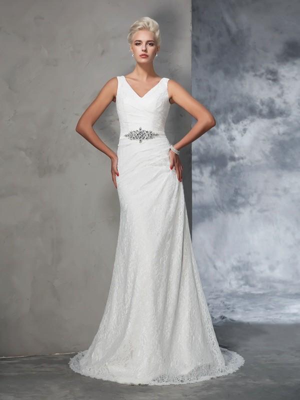 Trumpet Mermaid V Neck Lace Sleeveless Long Wedding Dresses