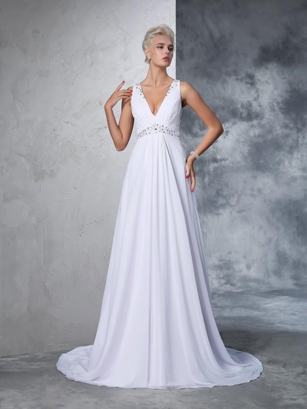 A Line Princess V Neck Beading Sleeveless Long Chiffon Wedding Dresses