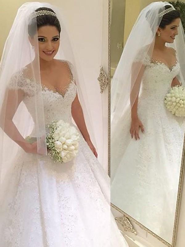 Ball Gown Sleeveless V Neck Beading Floor Length Tulle Wedding Dresses