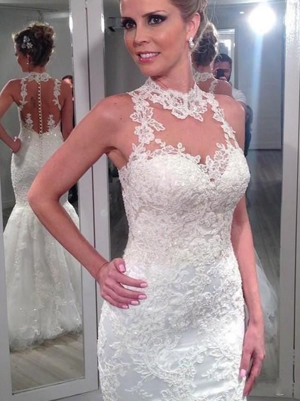 Trumpet Mermaid High Neck Sleeveless Lace Floor Length Tulle Wedding Dresses