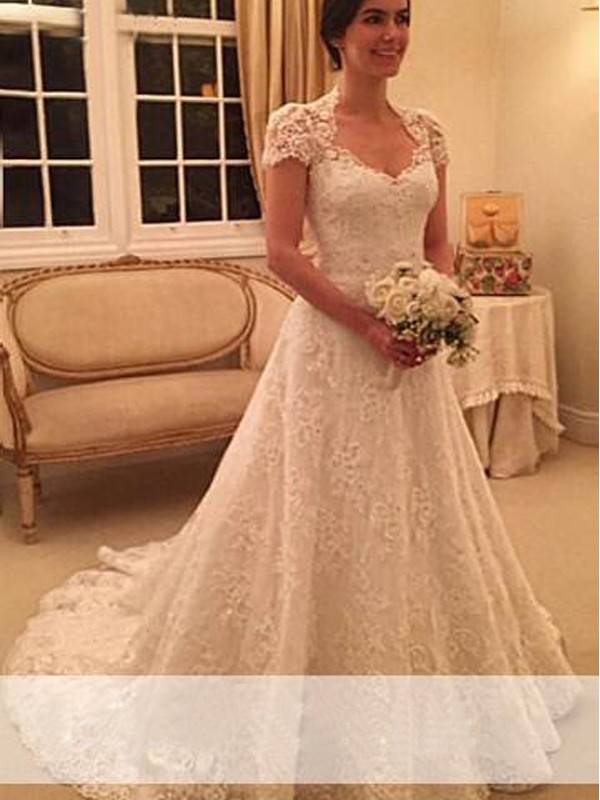 A Line Princess Sweetheart Court Train Short Sleeves Lace Wedding Dresses