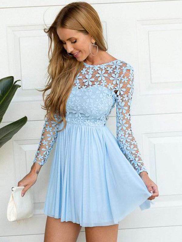 A-Line/Princess Scoop Long Sleeves Lace Short/Mini Chiffon Dresses ...