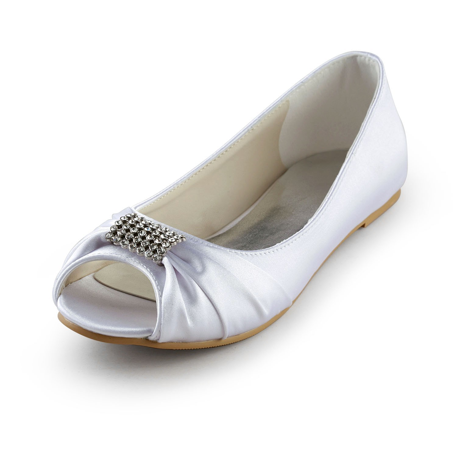 Womens Satin Flat Heel Peep Toe Sandals White Wedding Shoes With Rhinestone