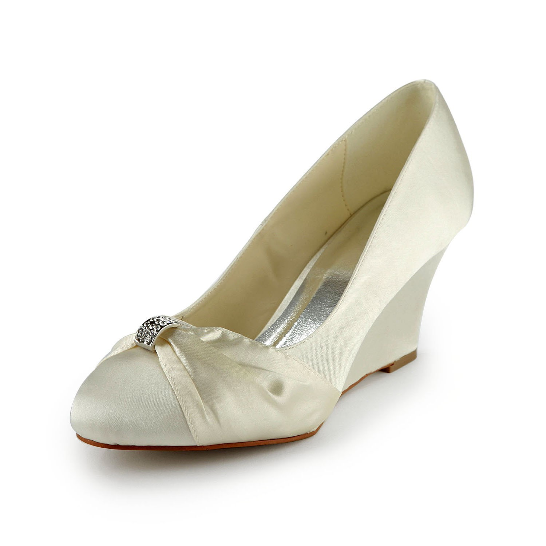 womens satin wedge heel wedges with rhinestone ivory wedding shoes