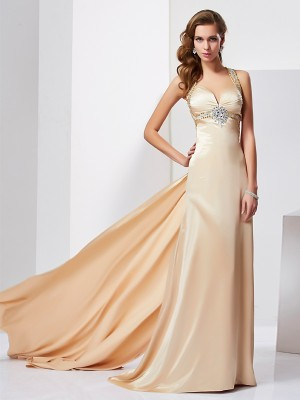 Sheath/Column Halter Sleeveless Ruffles Long Silk like Satin Dresses