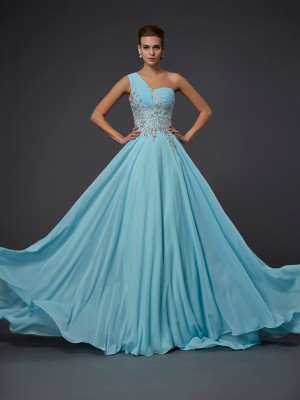 A-Line/Princess One-Shoulder Sleeveless Ruffles Long Chiffon Dresses