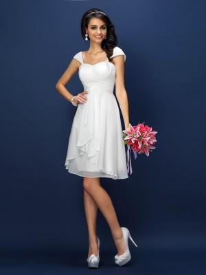 A-Line/Princess Straps Pleats Sleeveless Short Chiffon Bridesmaid Dresses