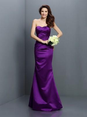 Trumpet/Mermaid Strapless Pleats Sleeveless Long Satin Bridesmaid Dresses