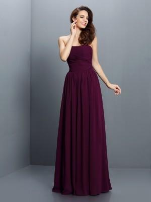 A-Line/Princess Strapless Pleats Sleeveless Long Chiffon Bridesmaid Dresses
