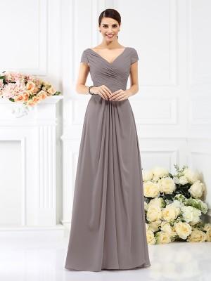 A-Line/Princess V-neck Pleats Short Sleeves Long Chiffon Bridesmaid Dresses