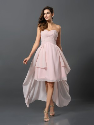 A-Line/Princess Sweetheart Pleats Sleeveless High Low Chiffon Bridesmaid Dresses