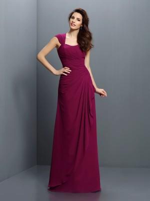 A-Line/Princess Straps Pleats Sleeveless Long Chiffon Bridesmaid Dresses
